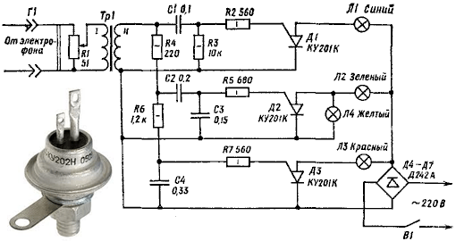 На рисунке приведена принципиальная схема простой цветомузыкальной приставки на тринисторах Д1—ДЗ.